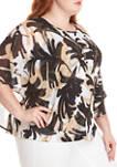 Plus Size Zanzibar Butterfly Sleeve Brushstroke Top