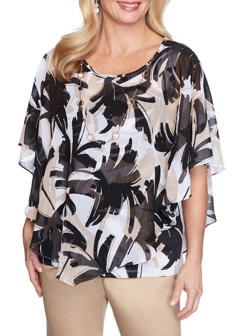 Alfred Dunner Petite Brushstroke Leaves Flutter Top