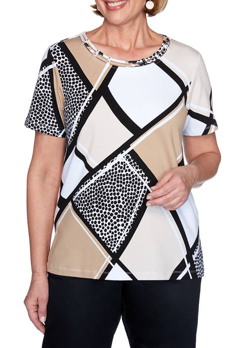 Alfred Dunner Petite Animal Patchwork Print Top