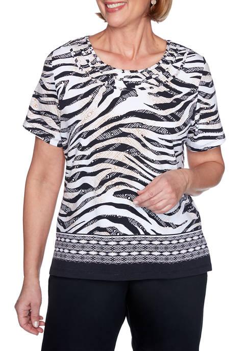 Alfred Dunner Petite Short Sleeve Zebra Print Top