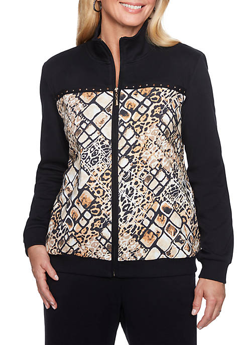 Alfred Dunner Animal Printed Bomber