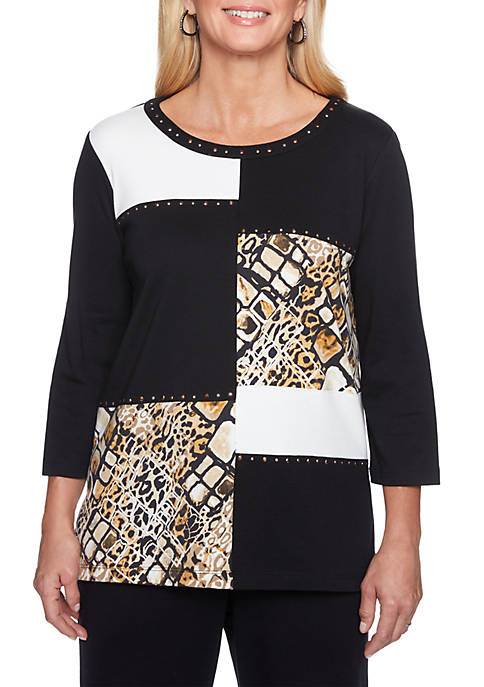 Alfred Dunner Animal Printed Colorblock Top