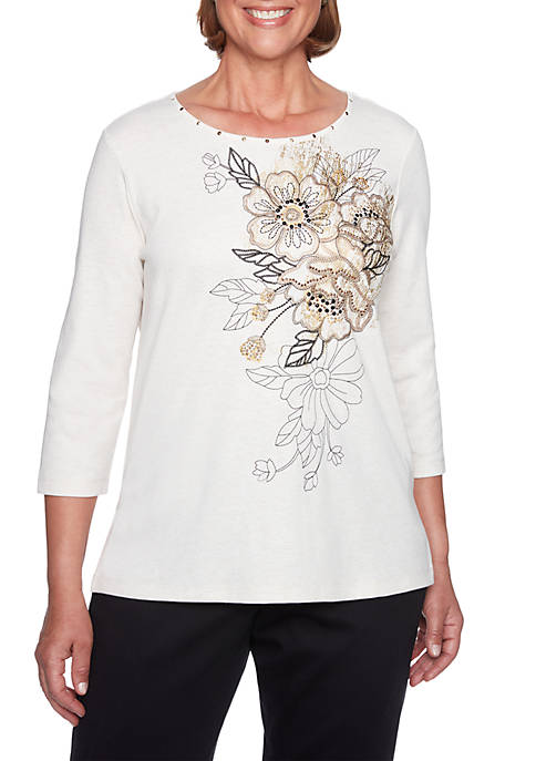 Alfred Dunner Asymmetrical Floral Top