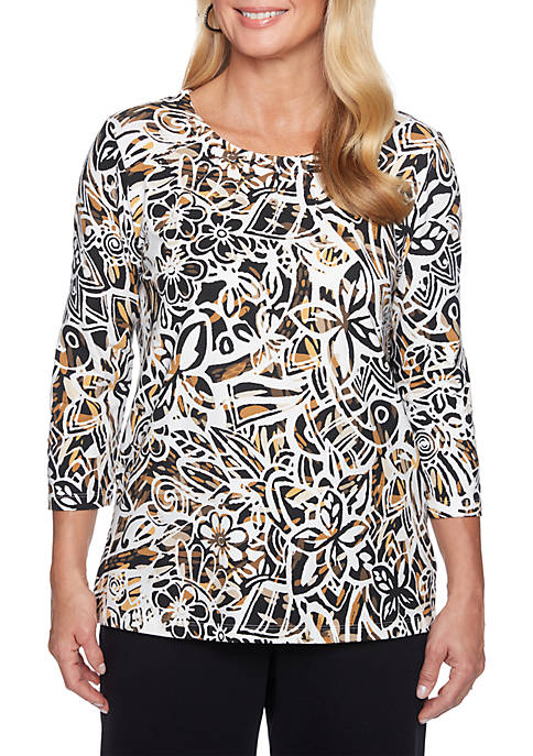 Alfred Dunner Abstract Floral Knit Top