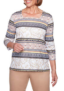 Floral Geometric Biadere Knit Top