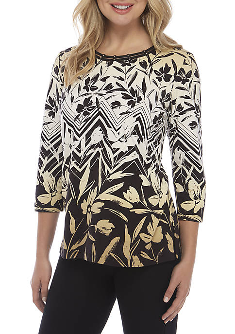 Alfred Dunner Chevron Floral Top