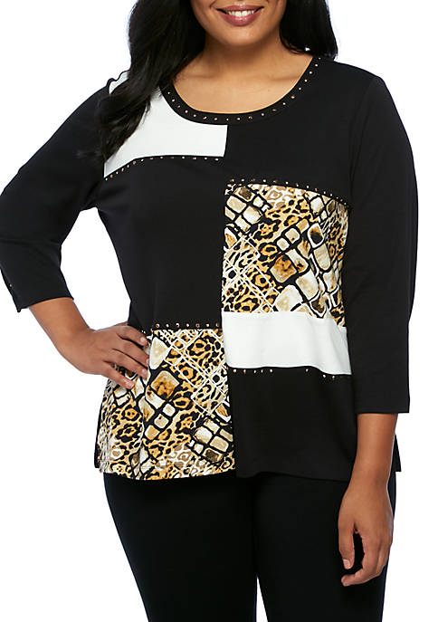 Alfred Dunner Plus Size Tile Animal Colorblock Tunic