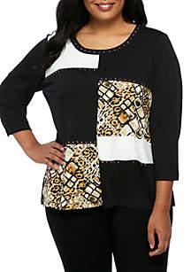 Plus Size Tile Animal Colorblock Tunic