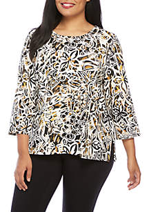 Plus Size Travel Light Abstract Floral Top