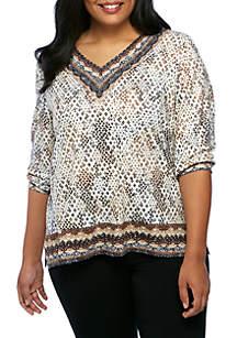 Plus Size Tile Python Print Lace Border Tunic