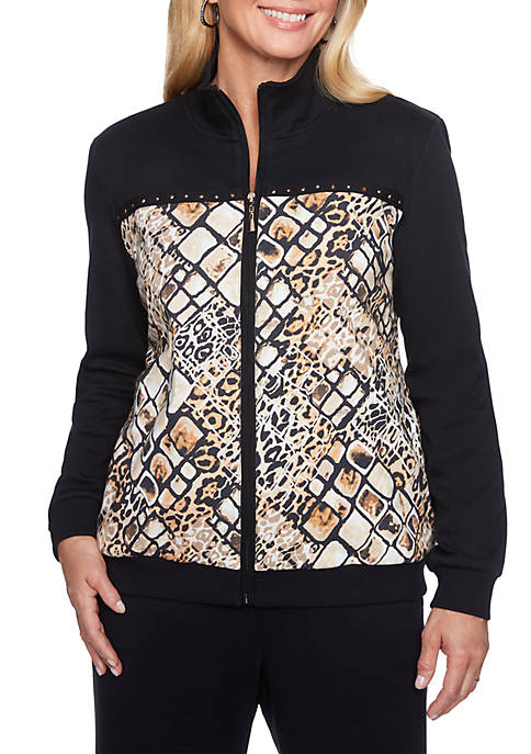Alfred Dunner Petite Animal Printed Bomber