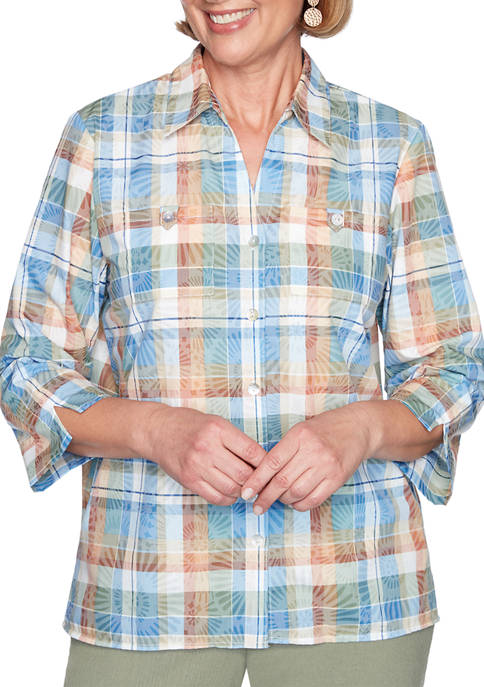 Alfred Dunner Womens Plaid Shirt