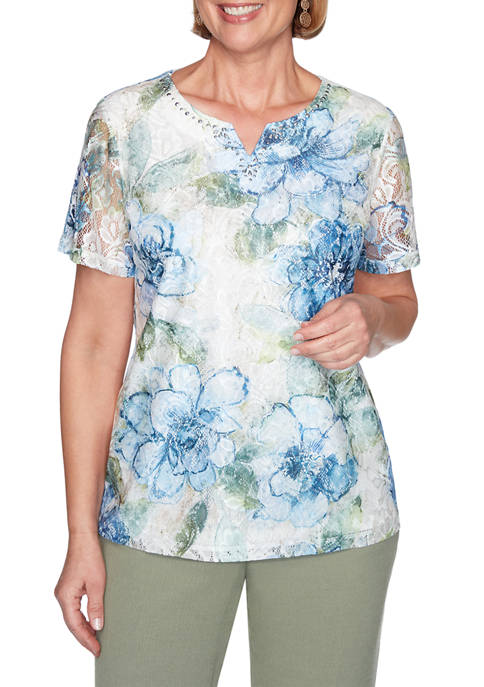 Alfred Dunner Womens Textured Lace Front Floral Top