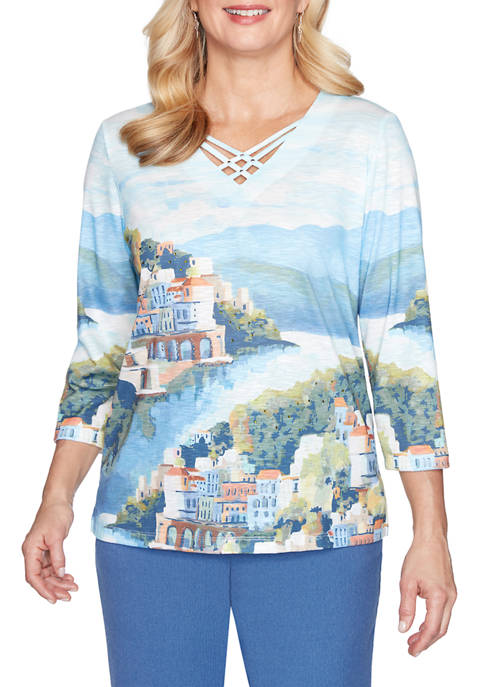 Alfred Dunner Womens Soft Knit Scenic Top