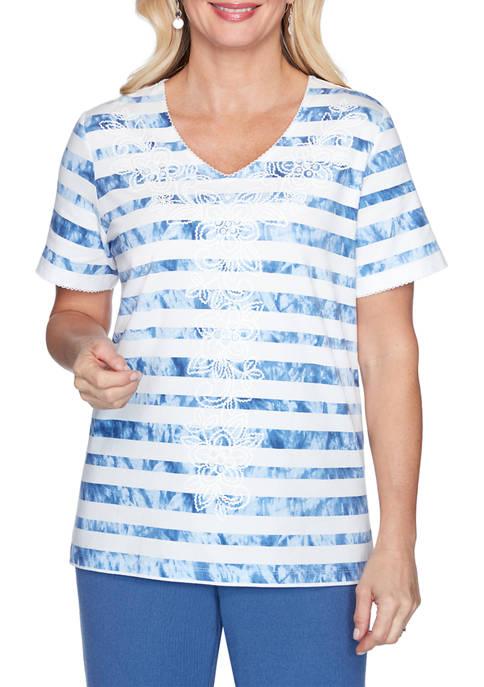 Womens Tie-Dye Striped Top