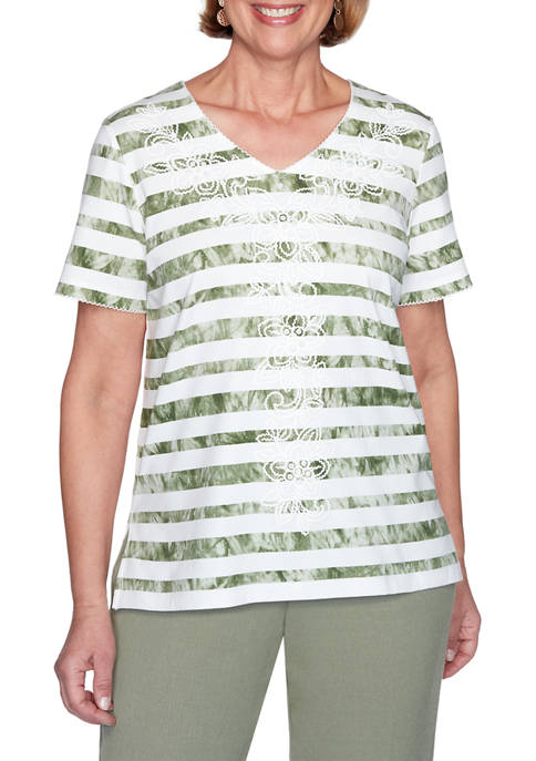 Alfred Dunner Womens Tie-Dye Striped Top