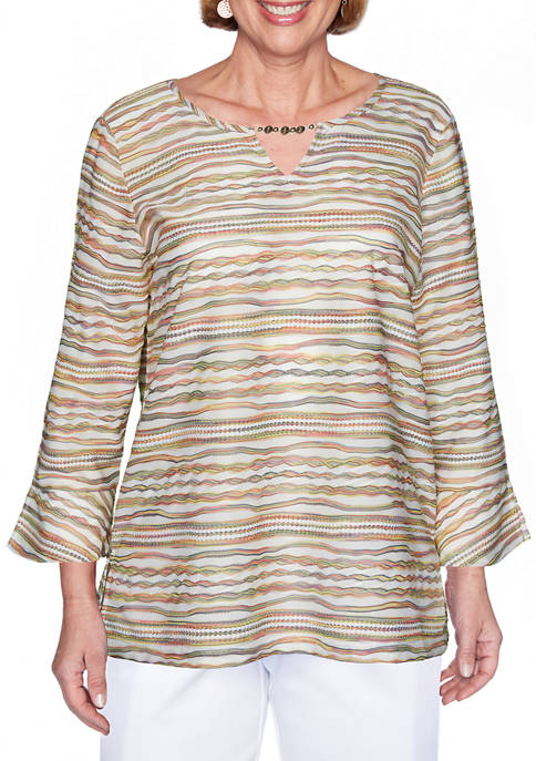 Alfred Dunner Womens Space Dye Stripe Top
