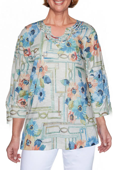 Alfred Dunner Womens Windowpane Floral Top