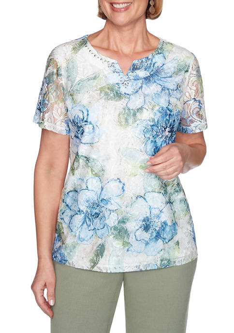 Alfred Dunner Petite Floral Print Top