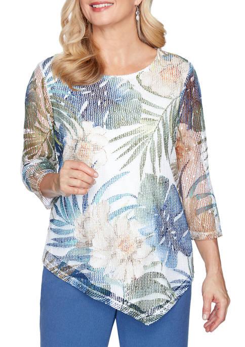 Petite Tropical Leaves Printed Knit Top
