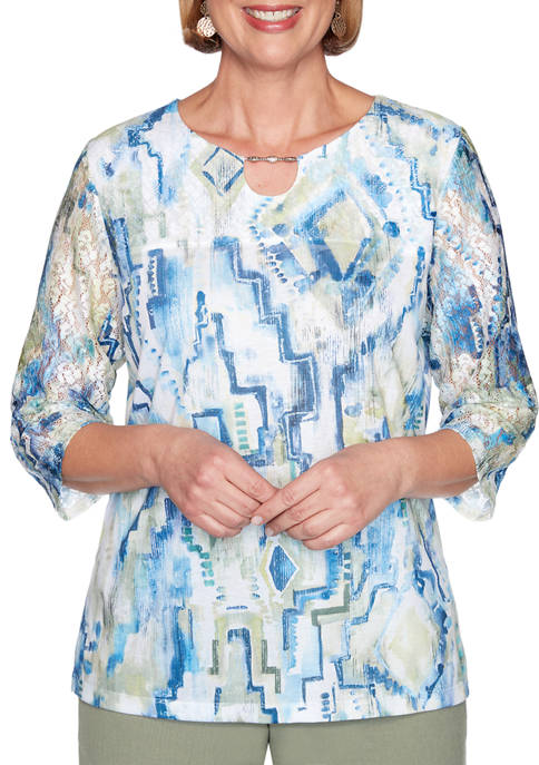 Alfred Dunner Petite Geometric Watercolor Print Top