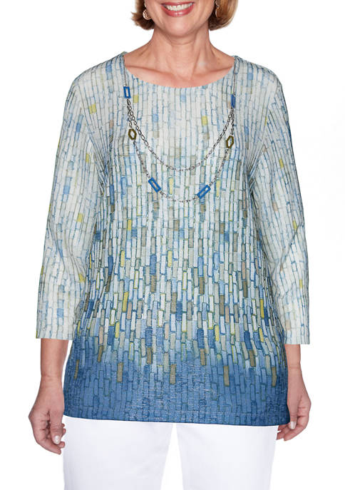 Petite Palo Alto Ombre Knit Top with Necklace