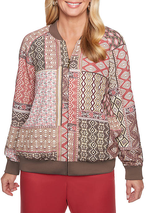 Alfred Dunner Patchwork Zip Front Bomber