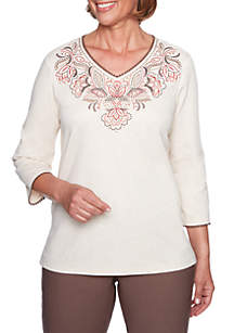 Scroll Yoke Embroidered Knit Top