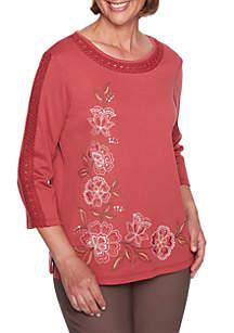 Asymmetrical Floral Lace Neck Top