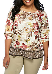 Plus Size Mixed Media Floral Border Tunic