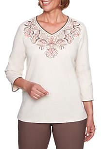 Petite Scroll Yoke Embroidered Knit Top