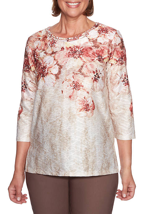 Alfred Dunner Petite Textured Floral Knit Top