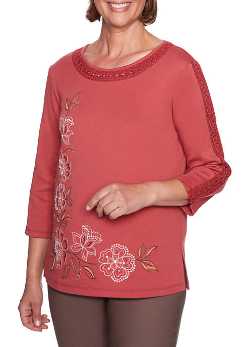 Alfred Dunner Petite Asymmetric Floral Lace Neck Top
