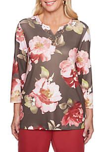 Petite Bold Floral Knit Top