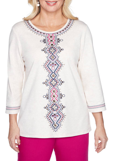 Alfred Dunner Panama City Medallion Embroidered Top