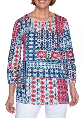 Alfred Dunner Womens Panama City Ikat Patchwork Top
