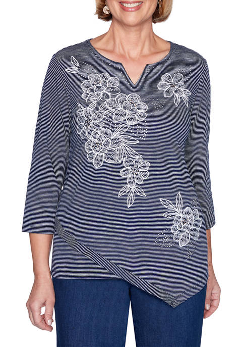 Alfred Dunner Panama City Floral Striped Top