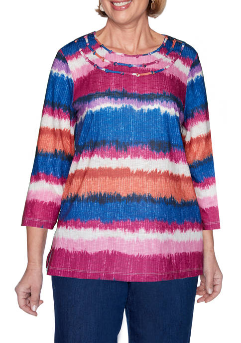 Alfred Dunner Womens Panama City Watercolor Biadere Top