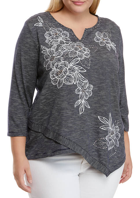 Alfred Dunner Plus Size Allover Embroidered Top
