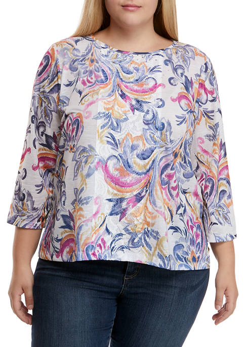 Alfred Dunner Plus Size Panama City 3/4 Sleeve