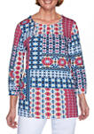 Petite Panama City Ikat Patchwork Knit Top