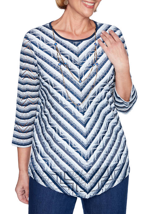 Alfred Dunner Petite Chevron Textured Stripe Top