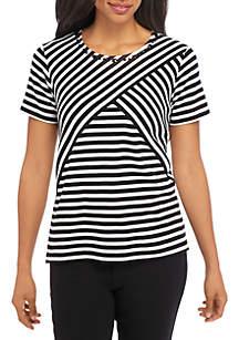 Petite Classic Spliced Stripe Top
