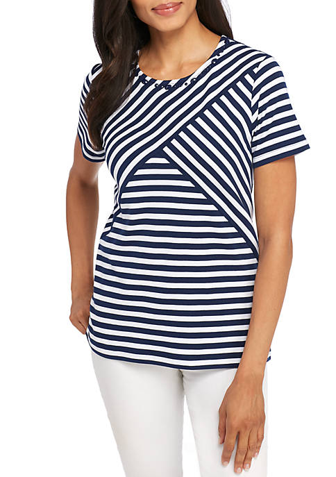 Alfred Dunner Petite Classic Spliced Stripe Top