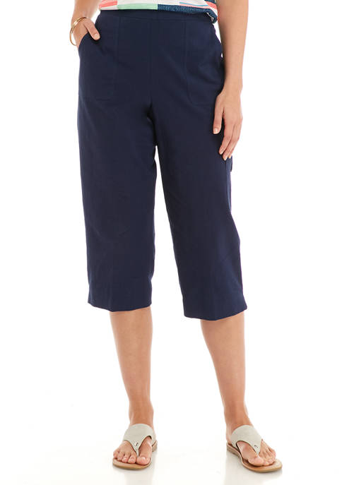 Alfred Dunner Womens Pull On Sheeting Capris