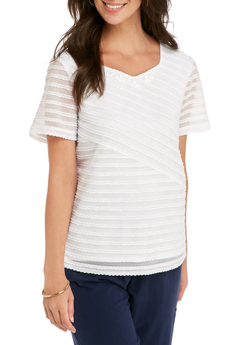 Alfred Dunner Womens Textured Solid T-Shirt