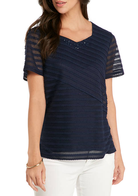 Womens Textured Solid T-Shirt