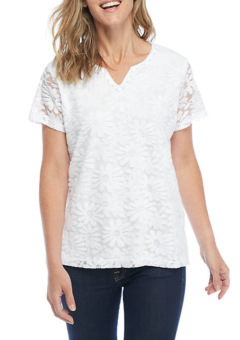 Alfred Dunner Petite Myrtle Daisy Tee