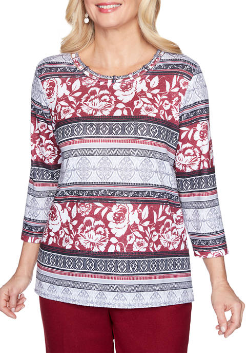 Alfred Dunner Womens Madison Avenue Geo Floral Biadere