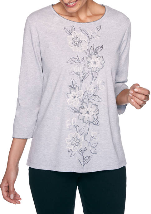 Alfred Dunner Womens Madison Avenue Center Floral Embroidery